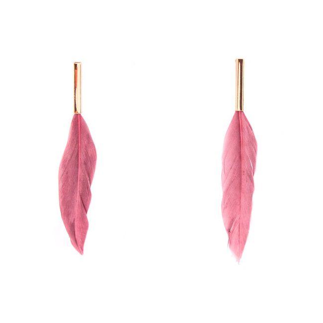 Aretes de pluma en color morado - Panamericana