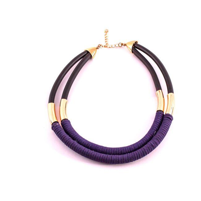 Collar de terciopelo color morado con negro - Panamericana