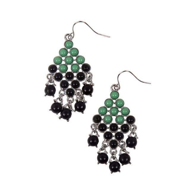6e3694565df2 Par de aretes largos con piedras verdes y negras - Panamericana
