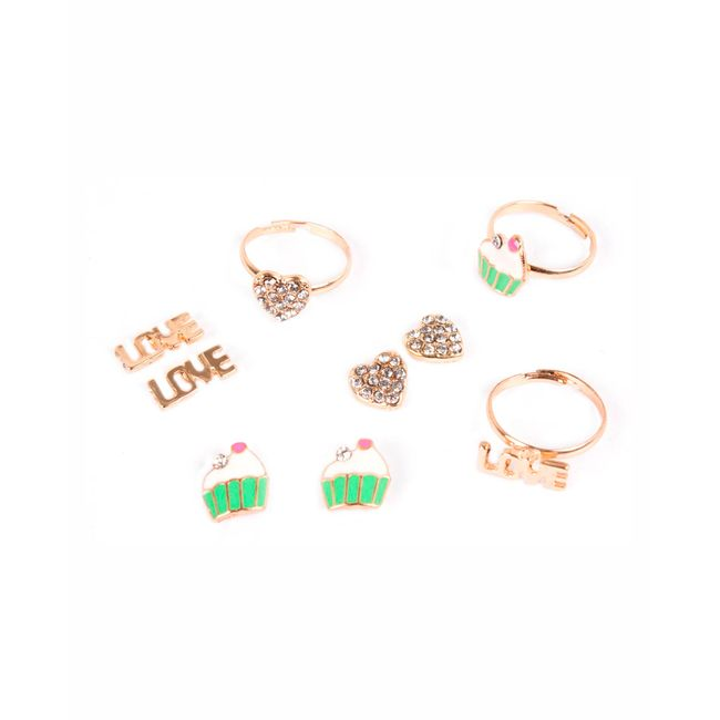 Aretes pequeños x 3 pares + 3 anillos Love corazón - Panamericana