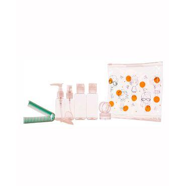 kit-de-recipientes-para-viaje-11-piezas-puntos-nina-naranja-7701016127509