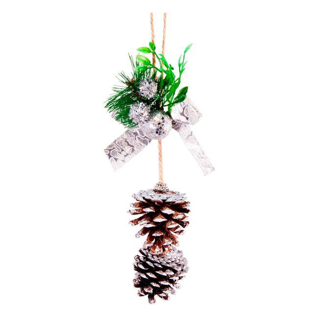 Adorno navide o para colgar de 2 pi as con adornos - Adorno navideno con pinas ...