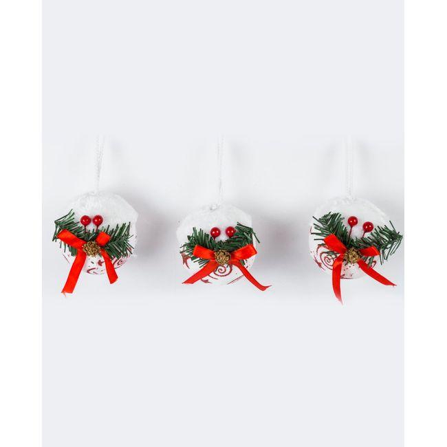 Set de 3 bolas con pick para árbol de Navidad, color blanco ...