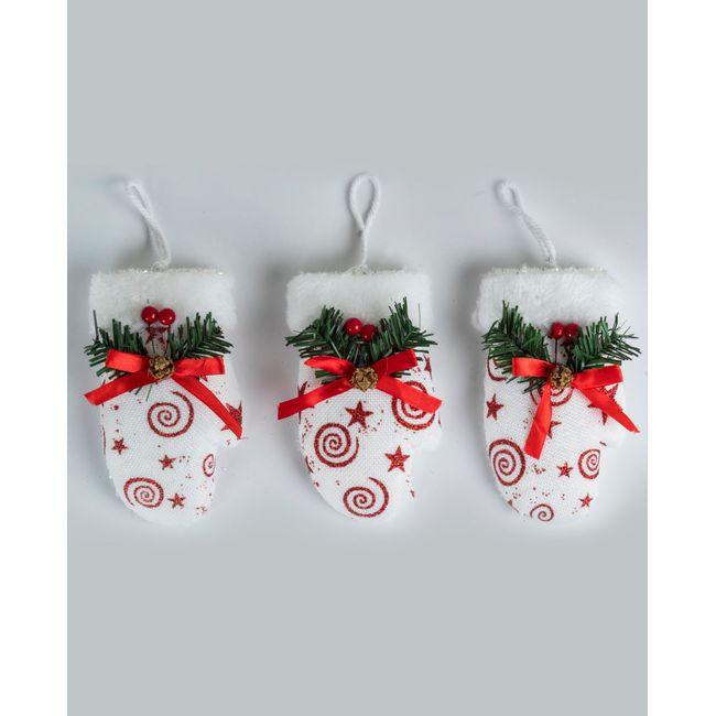 Set de 3 guantes para árbol de Navidad, color blanco con rojo ...