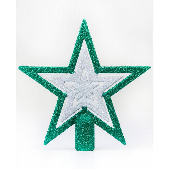 Punta de árbol de Navidad, diseño estrella con espiga color verde ...
