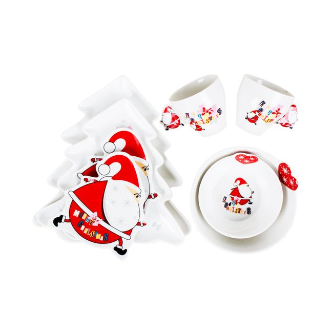 Vajilla navide a x 8 piezas con decoraci n de pap noel panamericana - Vajillas navidenas ...