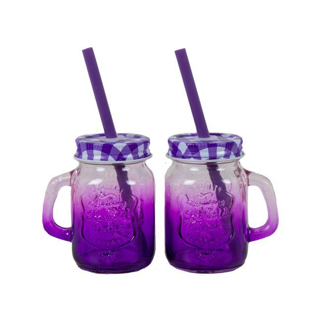 Set de 2 vaso pitillo en vidrio, color morado, de 120 ml - Panamericana
