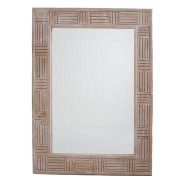 Espejo de pared de 70 cm marco blanco con gris panamericana for Espejo pared marco blanco