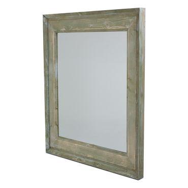 Espejo de pared con marco de madera color verde y caf for Espejos de pared con marco de madera