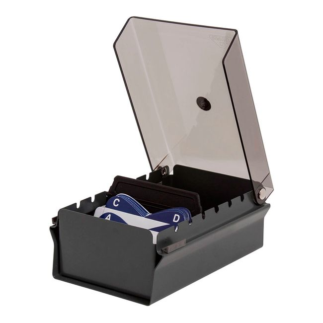 8031ac776 Tarjetero con tapa en acrílico para escritorio, gris humo - Panamericana