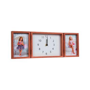 Reloj portarretratos de pared para 4 fotos, marco café - Panamericana