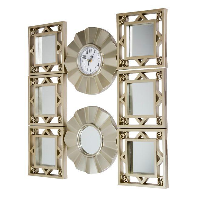 Set De Reloj De Pared Con 7 Espejos Diseno Circular Panamericana - Espejos-diseo