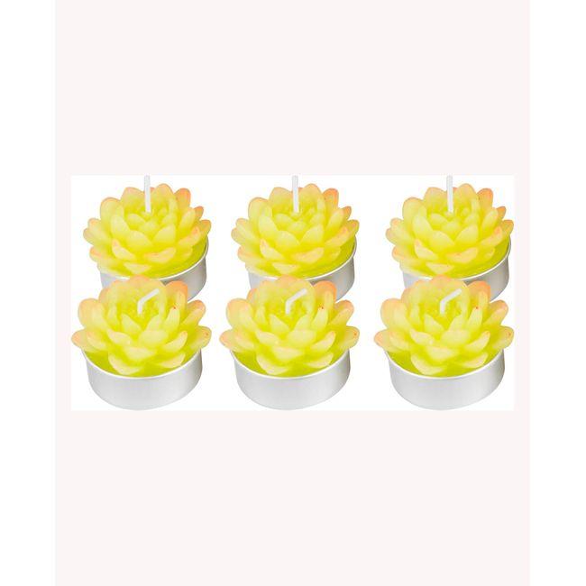Set De 6 Velas Tipo Flor De Loto Verde Panamericana