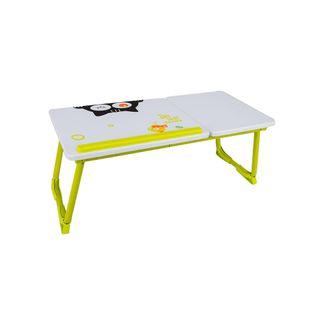 Mesa-auxiliar-para-portatil-blanca-con-verde-diseño-de-gato