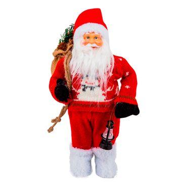 Santa-buso-rojo-con-hombre-de-nieve-bolsa-y-lampara---30-cm