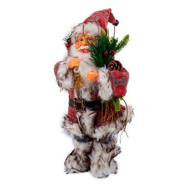 Santa-gris-y-rojo-con-bolsa-espigas-y-piñas---38-cm