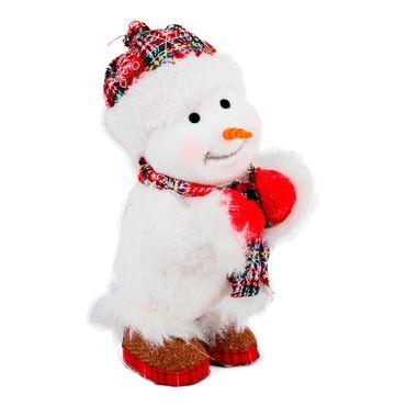 Hombre-de-nieve-de-pie-con-bufanda-gorro-y-copos-de-nieve