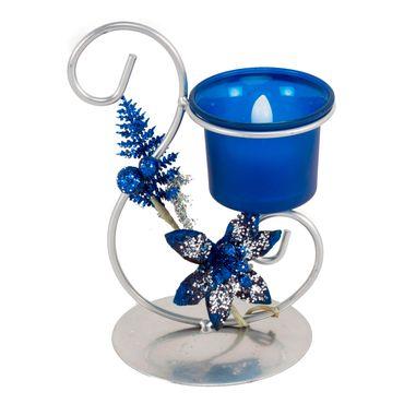 Candelabro-azul-mate-con-soporte-metalico-gris