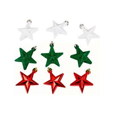 Set-de-9-adornos-navideños-estrellas-blancas-verde-roja