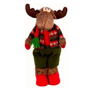 Reno-navideño-de-pie-color-rojo-con-verde