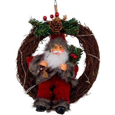 Corona-con-luz-LED-Santa-gris-y-rojo-con-frutos---16-cm
