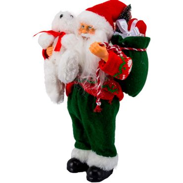 Santa-rojo-y-verde-con-oso-y-bolsa-de-regalos---30-cm