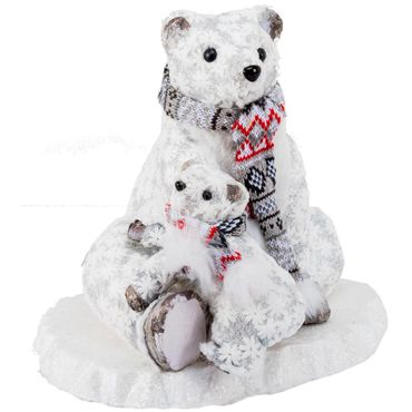 Oso-polar-sentado-con-hijo---Escarcha-y-flores