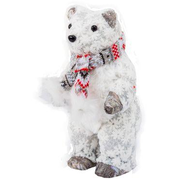 Oso-polar-de-pie-con-bufanda---Escarcha-y-flores