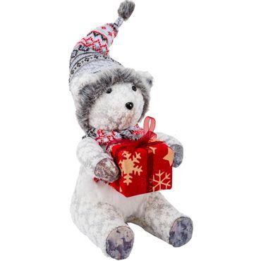 Oso-polar-sentado-con-regalo---Escarcha-y-flores