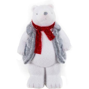Oso-polar-con-chaleco-y-bufanda-roja---20-cm