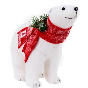 Oso-polar-con-pick-y-bufanda-roja---43-cm