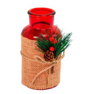 Candelabro-en-vidrio-rojo---con-forma-de-frasco-y-pick-decorativo