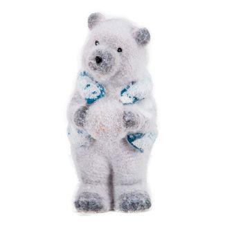 Oso-polar-con-bola-de-nieve-y-chaleco-azul---16-cm