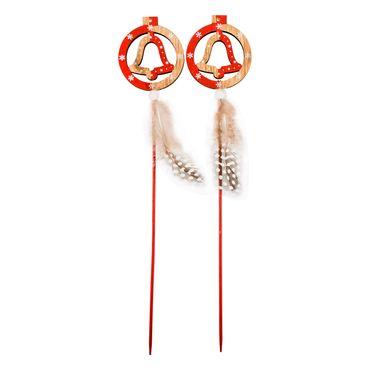 Adornos-navideños-x-2-diseño-de-campanas-con-plumas