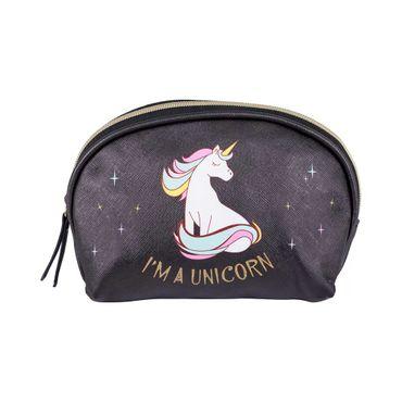 cosmetiquera-ovalada-negra-diseno-unicornio-7701016510837