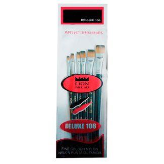 set-de-pinceles-lion-brushes-planos-deluxe-106-por-6-unidades-7707005803294