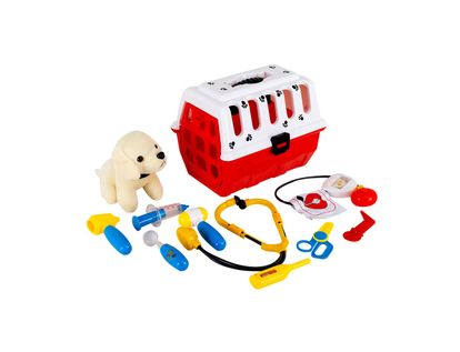 set-de-veterinaria-11-piezas-rojo-blanco-con-mascota-7701016764575