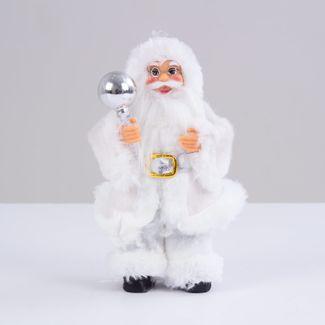 santa-con-abrigo-blanco-y-bola-navidena-plateada-16-cm-7701016901666