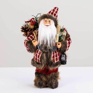 papa-noel-30-cm-abrigo-cuadros-rojo-beige-con-linterna-y-bolsa-de-regalos-cafe-7701016902045