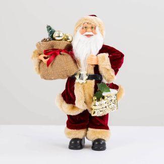 papa-noel-30-cm-abrigo-vinotinto-con-tren-y-bolsa-de-regalos-7701016902113
