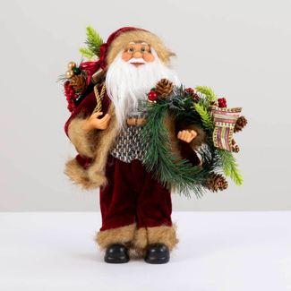 papa-noel-30-cm-abrigo-vinotinto-con-corona-y-bolsa-de-regalos-verde-7701016902120