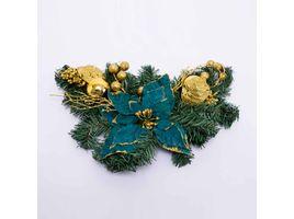 ramo-47cms-poinsettia-verde-petroleo-esferas-doradas-7701016110136