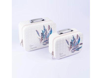 set-x-2-unds-neceser-blanco-con-plumas-azules-7701016836609