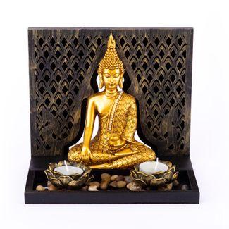 jardin-zen-con-buda-sentado-color-dorado-con-dos-candelabros-incluye-velas-7701016957229