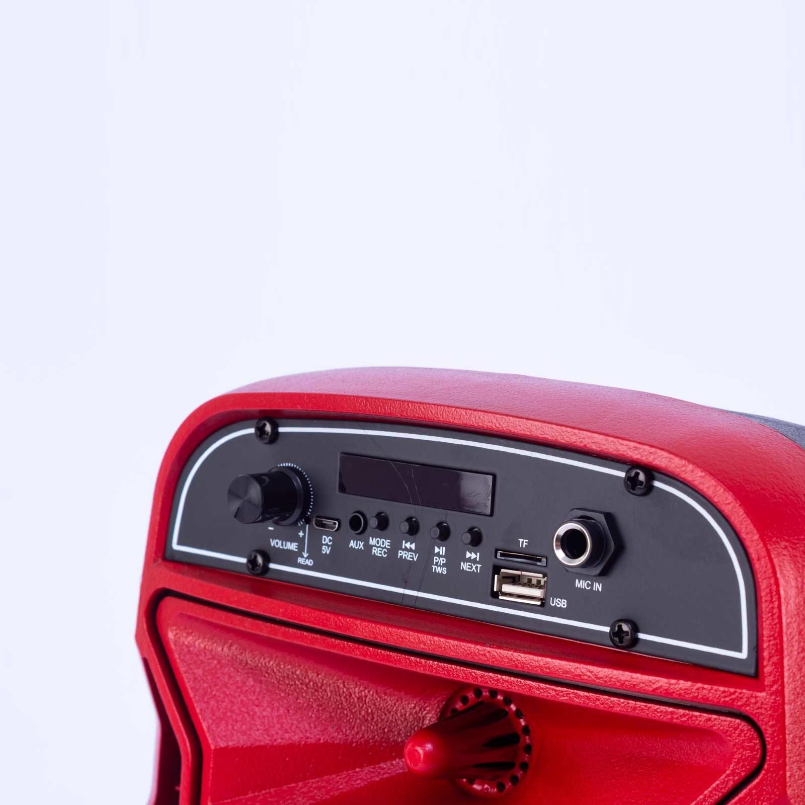 parlante goldenvoice de 10 w gv-0603, rojo y negro