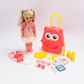 muneca-con-vestido-rosa-con-flores-con-maleta-de-buho-y-accesorios-de-doctora-36-cms-6902083800444