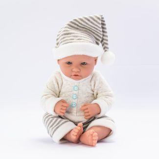 bebe-con-pijama-beige-pantalon-y-gorro-a-rayas-36-cms-7701016033619