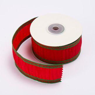 cinta-de-poliester-3-8-cms-x-9-mts-color-rojo-con-lineas-verdes-7701016017879
