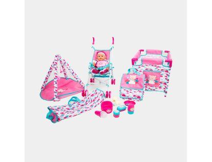 bebe-con-pijama-mitad-rosada-y-mitad-puntos-con-coche-corral-y-gimnasio-de-juegos-36-cms-6902083800437