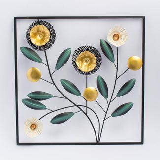 cuadro-con-hojas-verdes-oscuras-y-flores-doradas-y-blancas-7290769631352